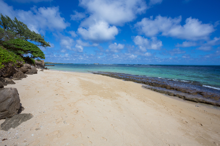 windward: Travel scenic landscape of Bathtub Beach in Laie Oahu Hawaii on the North Shore windward side of the island.