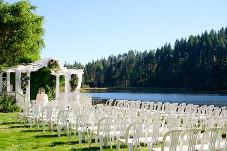 venue: Oregon Wedding Venue by Lake Stock Photo