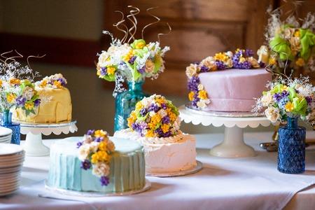 Cutsom Wedding Cake at Reception Stock Photo