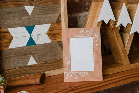 suite: Real Wood Wedding Invitation Suite Stock Photo