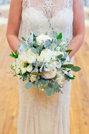 Bridal Bouquet of White and Green Flowers