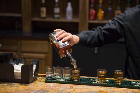 Bartender Pouring Shots for Bridal Party