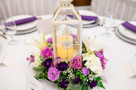 Candle Lantern Wedding Reception Centerpieces Stock Photo