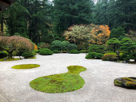 Japanese Garden Portland Oregon Stock Photo