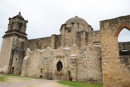 Mission San Jose is a historic landmark building with an operation church parish inside in San Antonio Texas. Stock Photo