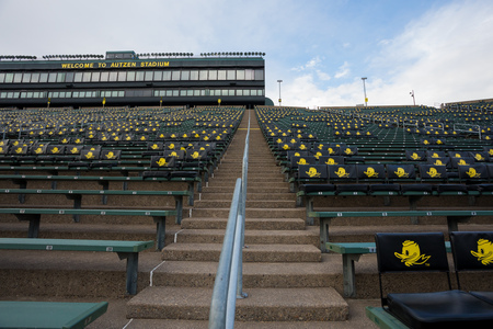 Eugene, OR - October 23, 2018: Empty Autzen Stadium and Rich Brooks Field on the University of Oregon campus where the Ducks football team plays home games. Editorial