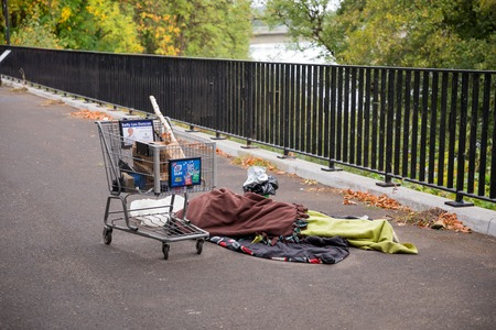 Homeless Person Sleeping on the Streets in Eugene Oregon Editorial