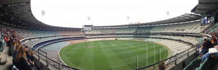 architectural: A panorama of the mighty Melbourne Cricket Ground during a pre-game AFL match. Round 1. Architectural wonder Capacity 100000 people Stock Photo