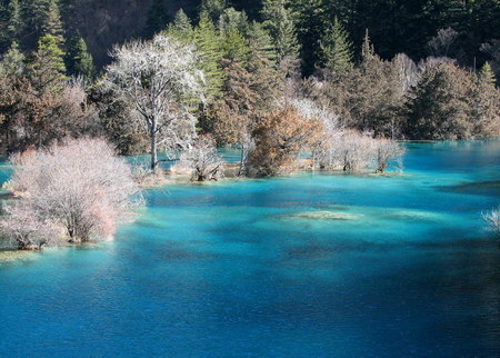 Mineral lakes in western China