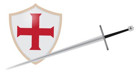 knights templar: Medieval Sword and Shield