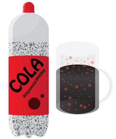 soda splash: Cola Bottle and Mug Illustration