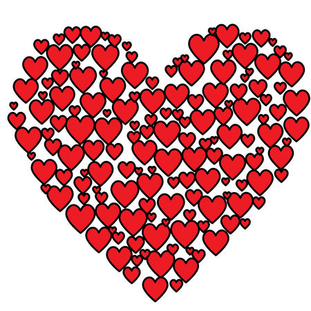 spachteln: Rote und schwarze Herz-Fill