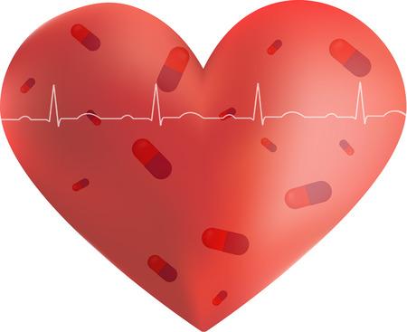 gp: Vitamins inside heart illustration