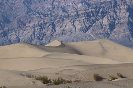Mountains behind the Mesquite Sand Dunes in Death Valley National Park California