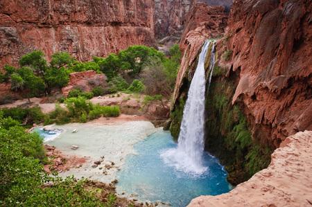 Beautiful Havasu Falls,Supai, Arizon Stock Photo