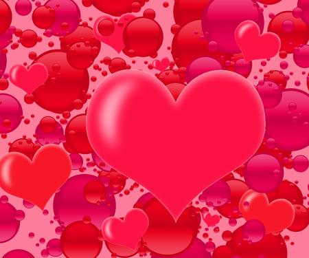 A graphic pink bubble and heart explosion. Фото со стока