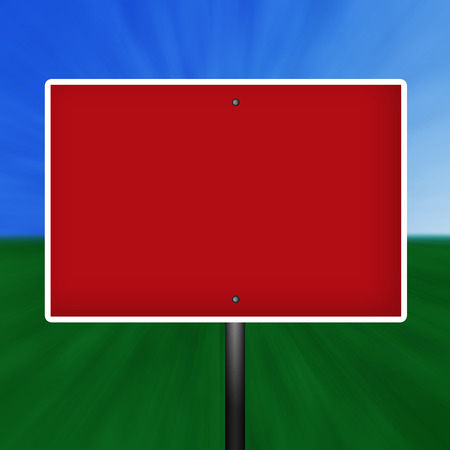 Blank graphic red and white warning street sign illustration with a grass and sky background.