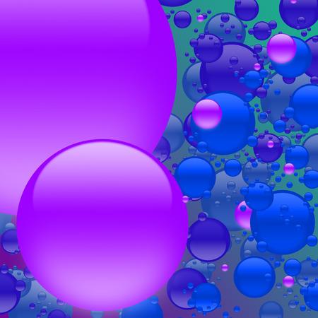Big purple bubbles amidst explosion of blue bubbles.