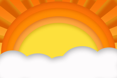 Abstract sun and clouds with orange and yellow color theme.