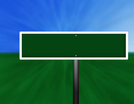A blank green and white street sign against a sky and grass background.