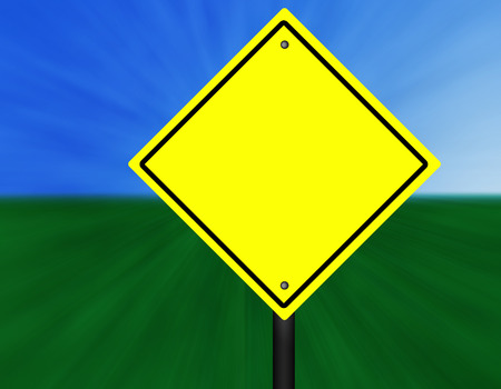A blank yellow and black graphic street sign.
