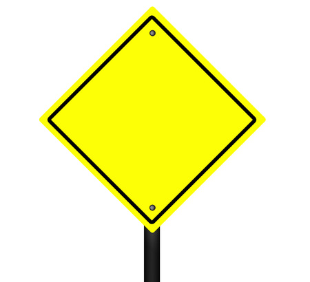 An isolated blank yellow and black graphic street sign.