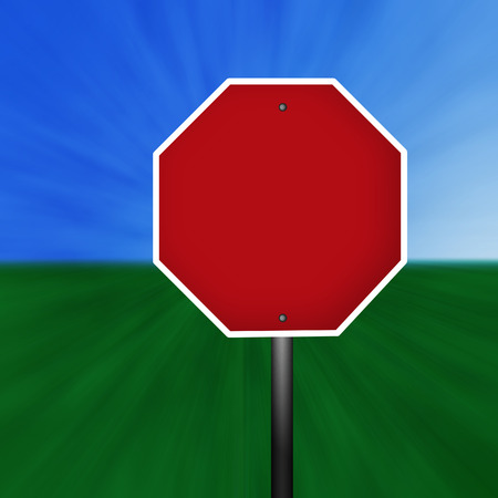 A blank stop sign illustration with a grass and sky background.