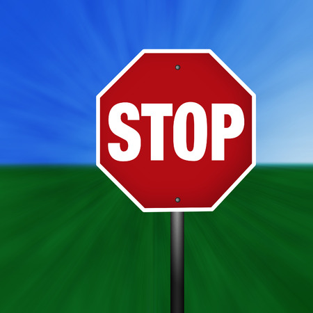 A stop sign illustration with a grass and sky background.