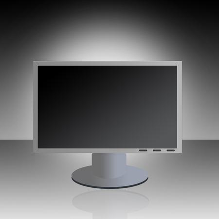 그라데이션 배경 반사와 그래픽 LCD 모니터.