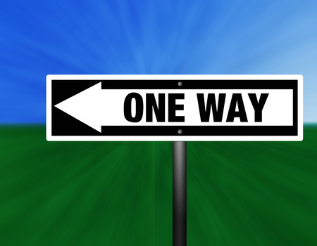one way: A black and white one way street sign against a sky and grass background.
