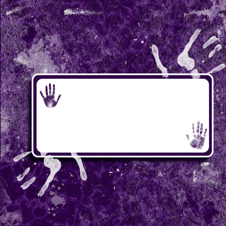 A purple background with handprint design and blank text area.
