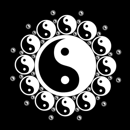 in the black: Graphic illustration of black and white yin yang flower.