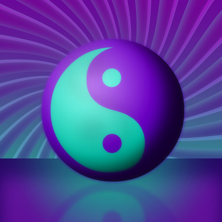 teal: A bright purple and teal yin yang and its reflection in front of a swirling vortex. Stock Photo