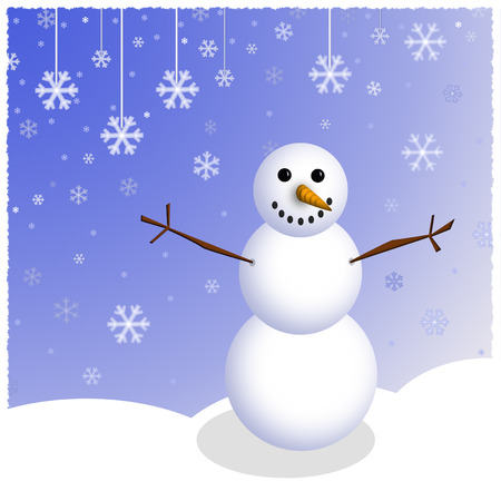 A graphic illustration of winter snowman and falling snowflakes.