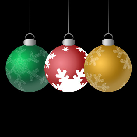 Three shiny Christmas ornaments in red, green, and gold with snowflakes against black background.