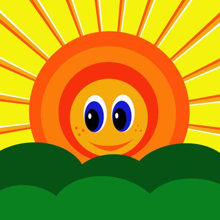 Graphic illustration of cartoon smiling sunshine rising.