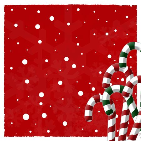 Candy cane and snowflake background with grunge snow border red fill. photo