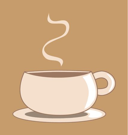 Graphic illustration of a light brown coffee cup against a toffee colored background.