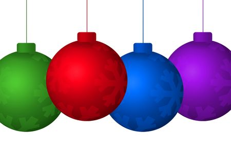Graphic illustration of colorful hanging christmas tree ornaments isolated against a white background.