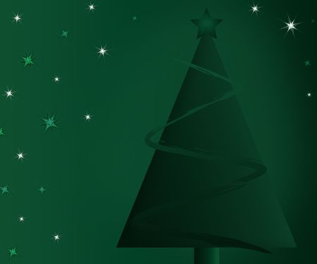 Abstract Christmas tree with garland and a star against a green gradient background with starburst accents.