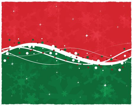 Graphic illustration of red and green background with snow trim, white swoops and swirls and transparent snowflakes.