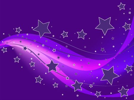 Abstract organic wallpaper or background with stars and ribbons in different shades of purple violet.
