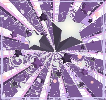 Graphic illustration of 3d stars against a purple and pink vortex background.
