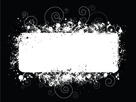 Graphic illustration of white abstract text area on a black background.