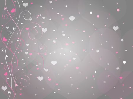 Graphic illustration of gray background with swirls and curls and hearts flying all around.
