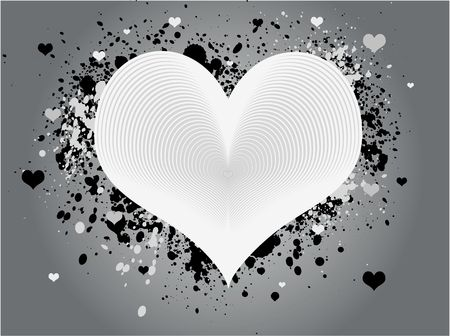 White and gray abstract heart design with grunge paint splats and scattered hearts against a gray background.