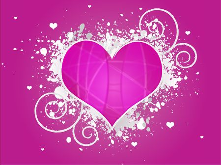 Graphic illustration of a valentines day heart with white paint splats and swirls on a pink gradient background. Stock Illustration - 2292628
