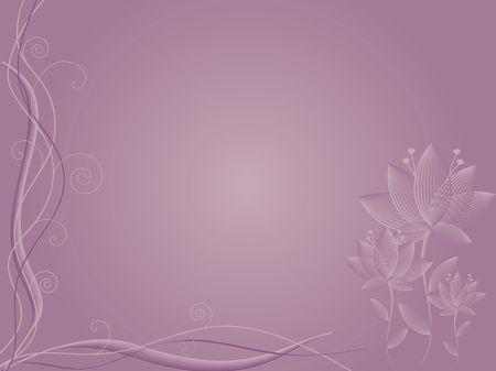 Graphic illustration of mauve background with abstract flowers and curls.