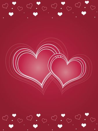 Large abstract pink hearts surrounded by smaller scattered hearts against a red background. photo