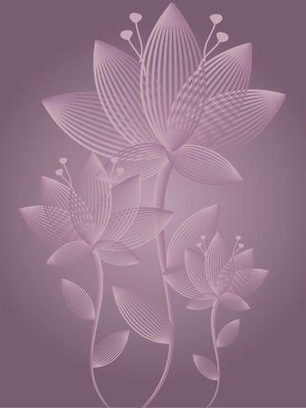 Graphic illustration of abstract flower arrangement against a mauve gradient background. Stock Photo